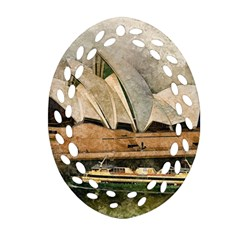 Sydney The Opera House Watercolor Oval Filigree Ornament (two Sides)