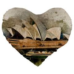 Sydney The Opera House Watercolor Large 19  Premium Flano Heart Shape Cushions