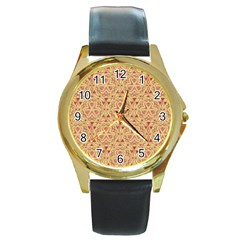 Tribal Pattern Hand Drawing 2 Round Gold Metal Watch by Cveti
