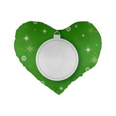 Christmas Bauble Ball Standard 16  Premium Flano Heart Shape Cushions by BangZart