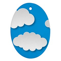 Clouds Sky Background Comic Ornament (oval)