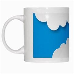 Clouds Sky Background Comic White Mugs by BangZart