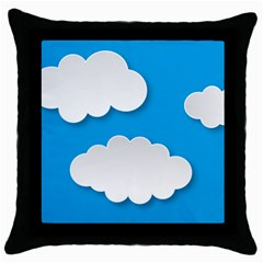 Clouds Sky Background Comic Throw Pillow Case (black)