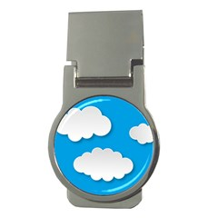 Clouds Sky Background Comic Money Clips (round)  by BangZart