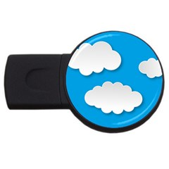 Clouds Sky Background Comic Usb Flash Drive Round (2 Gb) by BangZart