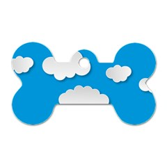 Clouds Sky Background Comic Dog Tag Bone (two Sides)