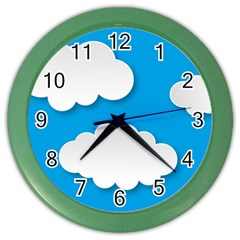 Clouds Sky Background Comic Color Wall Clocks
