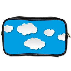 Clouds Sky Background Comic Toiletries Bags 2 Side
