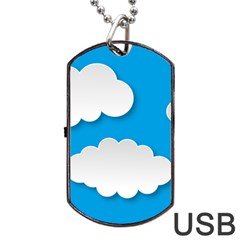 Clouds Sky Background Comic Dog Tag Usb Flash (one Side)