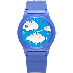 Clouds Sky Background Comic Round Plastic Sport Watch (s)