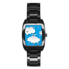 Clouds Sky Background Comic Stainless Steel Barrel Watch by BangZart