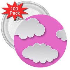 Clouds Sky Pink Comic Background 3  Buttons (100 Pack)