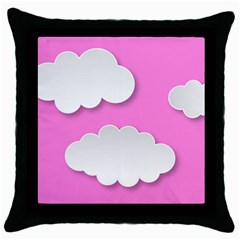 Clouds Sky Pink Comic Background Throw Pillow Case (black)