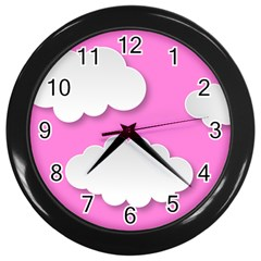 Clouds Sky Pink Comic Background Wall Clocks (black) by BangZart