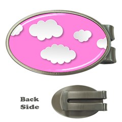 Clouds Sky Pink Comic Background Money Clips (oval)