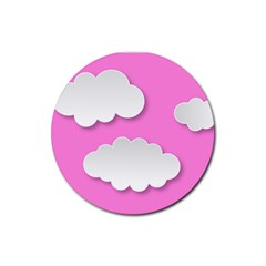 Clouds Sky Pink Comic Background Rubber Round Coaster (4 Pack)