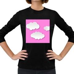 Clouds Sky Pink Comic Background Women s Long Sleeve Dark T Shirts