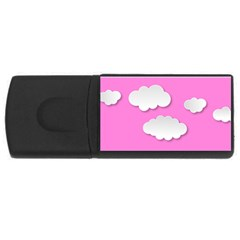 Clouds Sky Pink Comic Background Rectangular Usb Flash Drive by BangZart