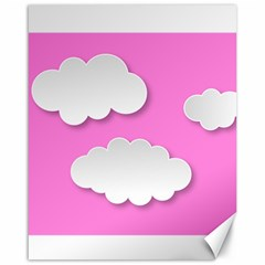 Clouds Sky Pink Comic Background Canvas 16  X 20