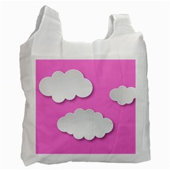 Clouds Sky Pink Comic Background Recycle Bag (one Side)