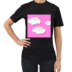 Clouds Sky Pink Comic Background Women s T Shirt (black)