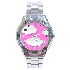 Clouds Sky Pink Comic Background Stainless Steel Analogue Watch by BangZart