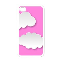Clouds Sky Pink Comic Background Apple Iphone 4 Case (white)