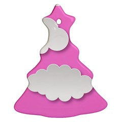 Clouds Sky Pink Comic Background Christmas Tree Ornament (two Sides)