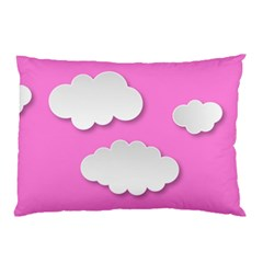 Clouds Sky Pink Comic Background Pillow Case (two Sides)