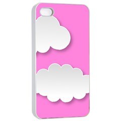 Clouds Sky Pink Comic Background Apple Iphone 4/4s Seamless Case (white)