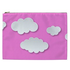 Clouds Sky Pink Comic Background Cosmetic Bag (xxl)