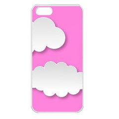 Clouds Sky Pink Comic Background Apple Iphone 5 Seamless Case (white)