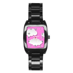 Clouds Sky Pink Comic Background Stainless Steel Barrel Watch