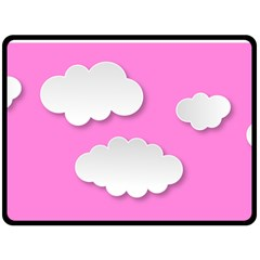 Clouds Sky Pink Comic Background Double Sided Fleece Blanket (large)