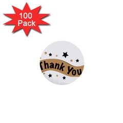 Thank You Lettering Thank You Ornament Banner 1  Mini Buttons (100 Pack)