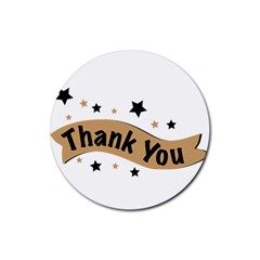 Thank You Lettering Thank You Ornament Banner Rubber Round Coaster (4 Pack)