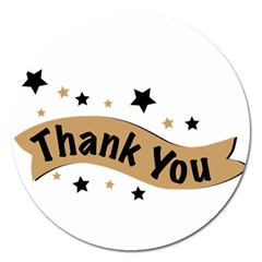 Thank You Lettering Thank You Ornament Banner Magnet 5  (round)