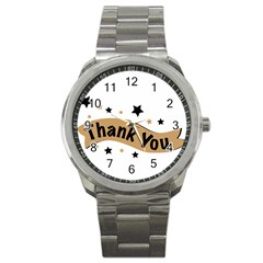 Thank You Lettering Thank You Ornament Banner Sport Metal Watch
