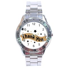 Thank You Lettering Thank You Ornament Banner Stainless Steel Analogue Watch by BangZart