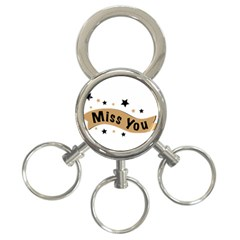 Lettering Miss You Banner 3 Ring Key Chains