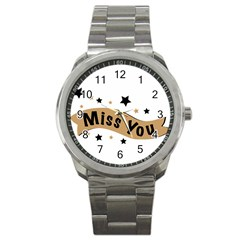 Lettering Miss You Banner Sport Metal Watch by BangZart