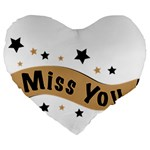 Lettering Miss You Banner Large 19  Premium Flano Heart Shape Cushions Front