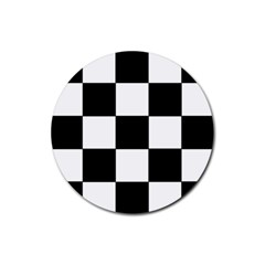 Grid Domino Bank And Black Rubber Coaster (round)