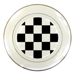 Grid Domino Bank And Black Porcelain Plates