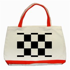 Grid Domino Bank And Black Classic Tote Bag (red)