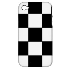 Grid Domino Bank And Black Apple Iphone 4/4s Hardshell Case (pc+silicone)