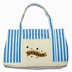 Einladung Lettering Invitation Banner Striped Blue Tote Bag