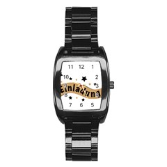 Einladung Lettering Invitation Banner Stainless Steel Barrel Watch
