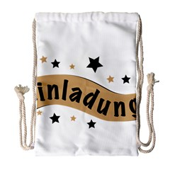 Einladung Lettering Invitation Banner Drawstring Bag (large) by BangZart