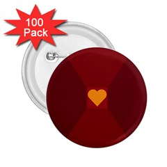 Heart Red Yellow Love Card Design 2 25  Buttons (100 Pack)  by BangZart